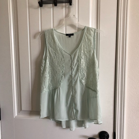 Soprano Tops - Sheer lace mint top
